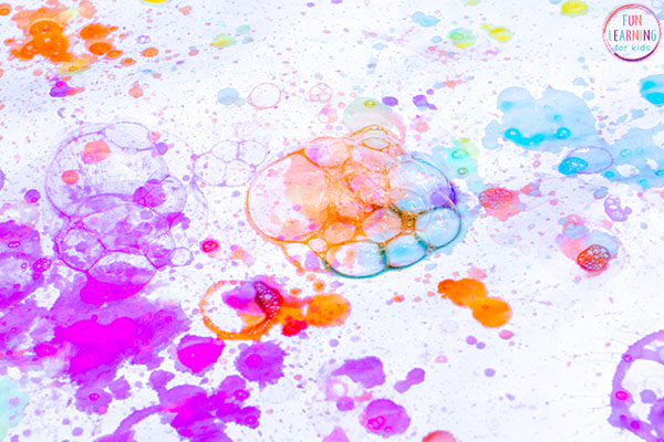 This painting with bubbles process art activity is so much fun!