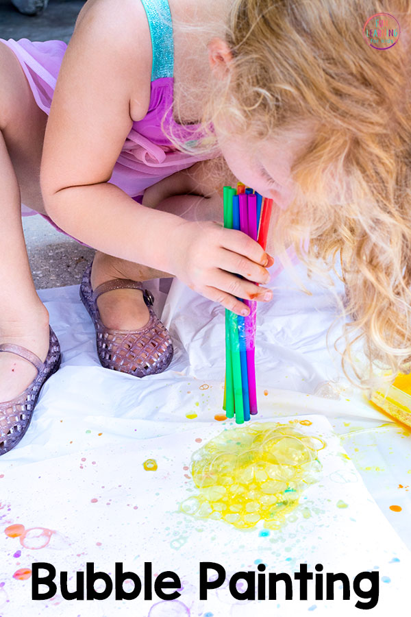 Your kids will have a blast painting with bubbles! It's a fun art activity for kids!