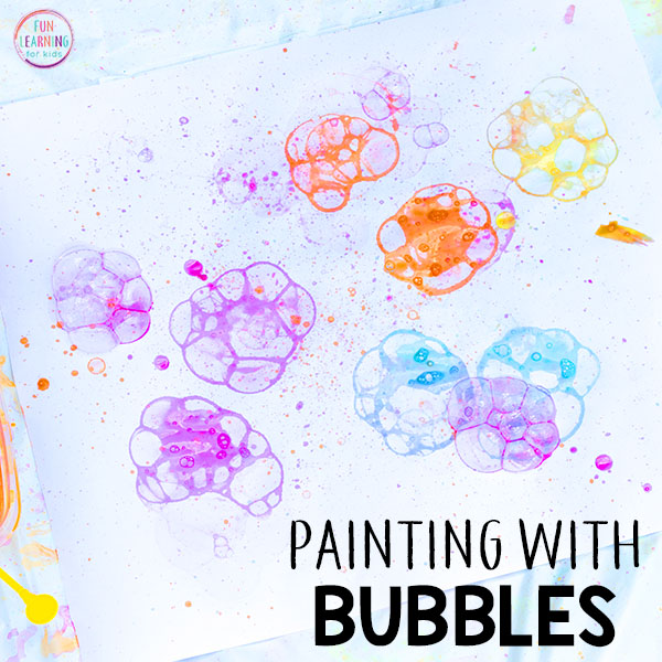 Painting with bubbles is a fun process art activity!