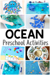 These ocean theme preschool activities are sure to be a hit! From math to alphabet to sensory and arts and crafts, there are tons of ocean activities for your preschoolers!