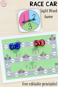 This editable race car sight word game will make learning sight words or spelling words a blast!