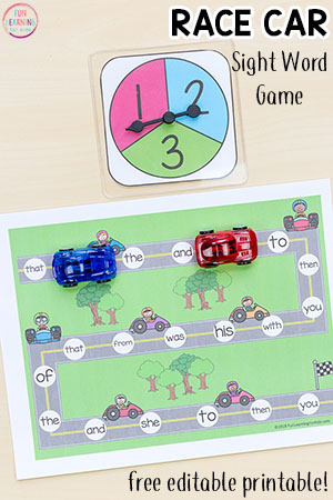 Editable Race Car Sight Word Game