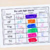 Kids will have a blast writing sight words 3 ways. Read it, rainbow it, reveal it and rotate it.