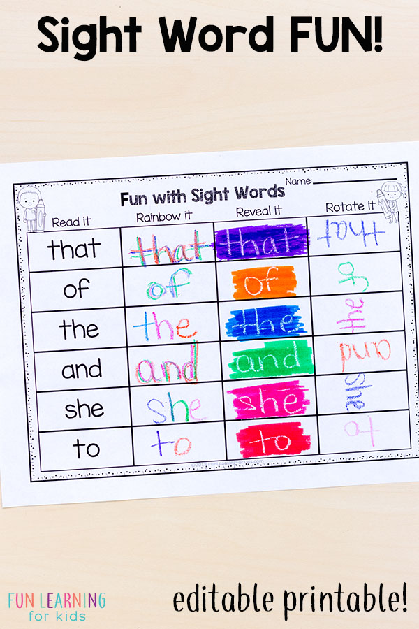image relating to Free Printable Sight Word Games identify Editable Sight Phrase Online games That Are Tremendous Exciting!