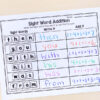 Combine literacy and math with sight word addition activity.
