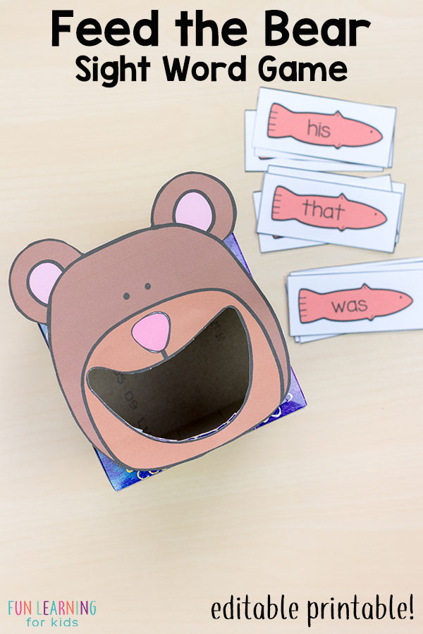 Feed the bear sight word game. A fun way for kids to learn sight words!