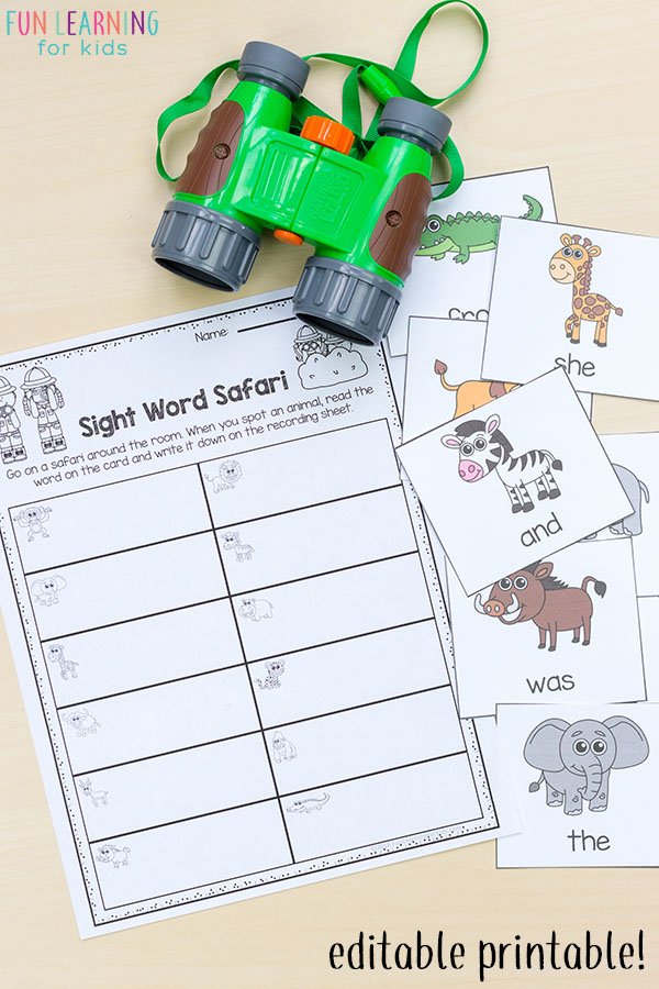 Sight word safari read and write the room activity.