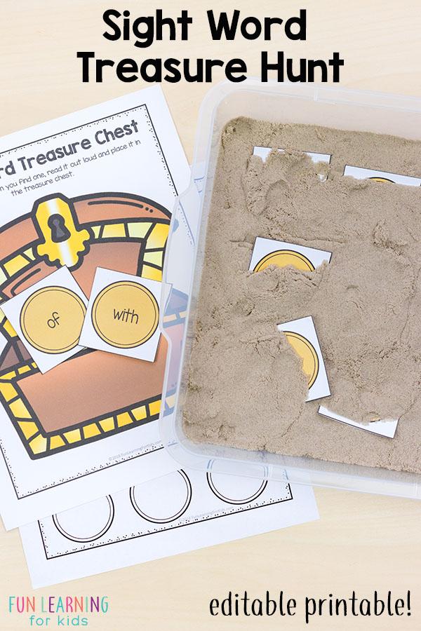 Editable sight word treasure hunt. Dig in the sand and find sight word treasure with this sight word sensory bin.