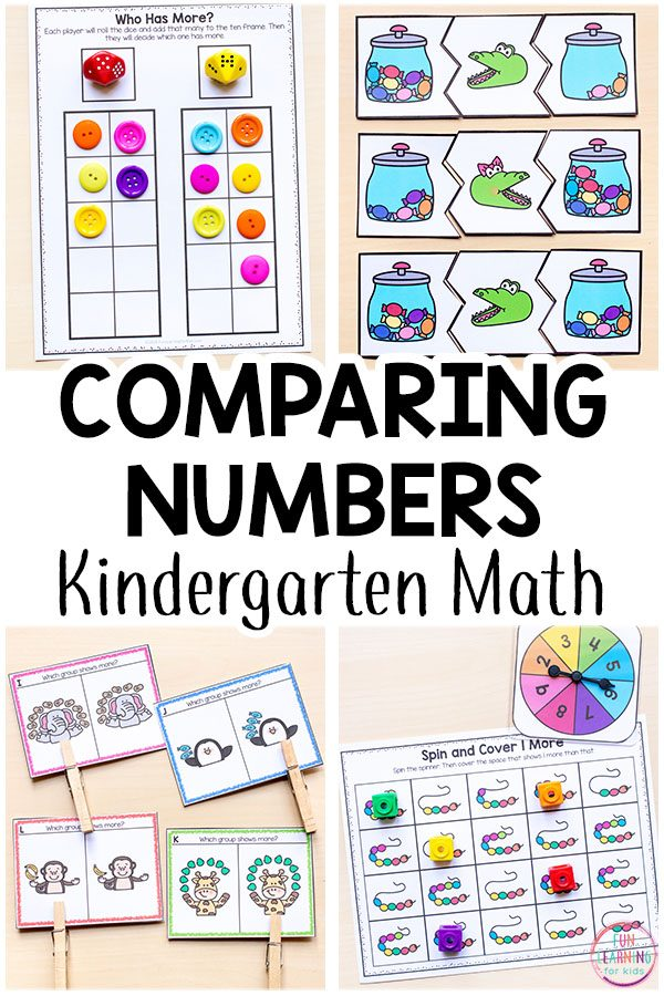 Comparing numbers activities for kindergarten and even preschool. Lots of fun and engaging ways to learn to compare numbers in your Kindergarten math centers.