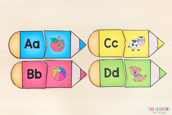 Back to school puzzles for your literacy center in kindergarten or pre-k.