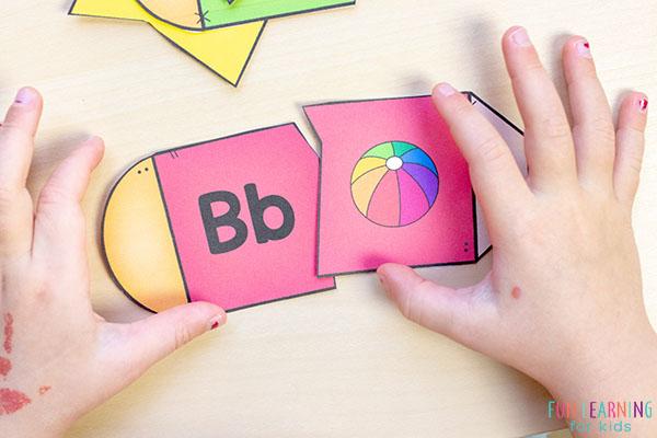 Back to school alphabet puzzles for kindergarten.