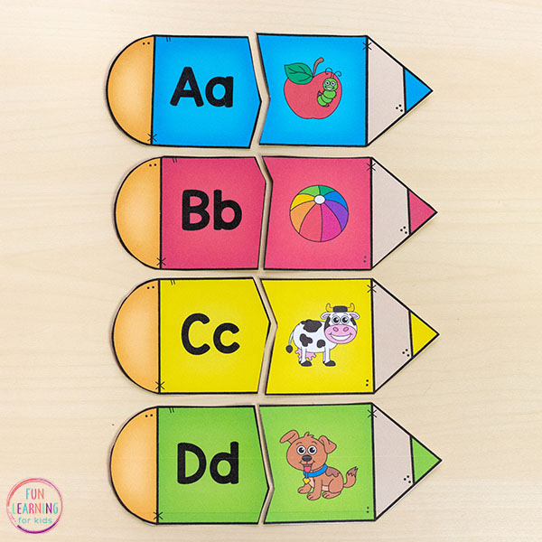 These pencil alphabet puzzles are perfect for the back to school theme.