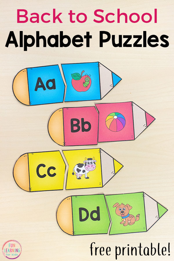 photo about Printable Literacy Centers First Grade titled Pencil Alphabet Puzzles for Back again toward Higher education
