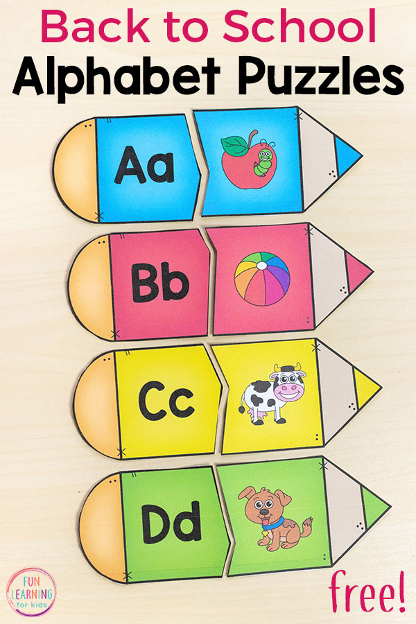 Pencil puzzles for back to school theme activities.
