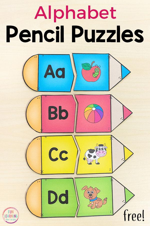 Pencil Alphabet Puzzles Pin 4