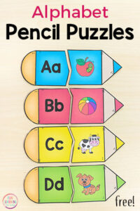 Pencil alphabet puzzles for your back to school theme at the beginning of the school year.