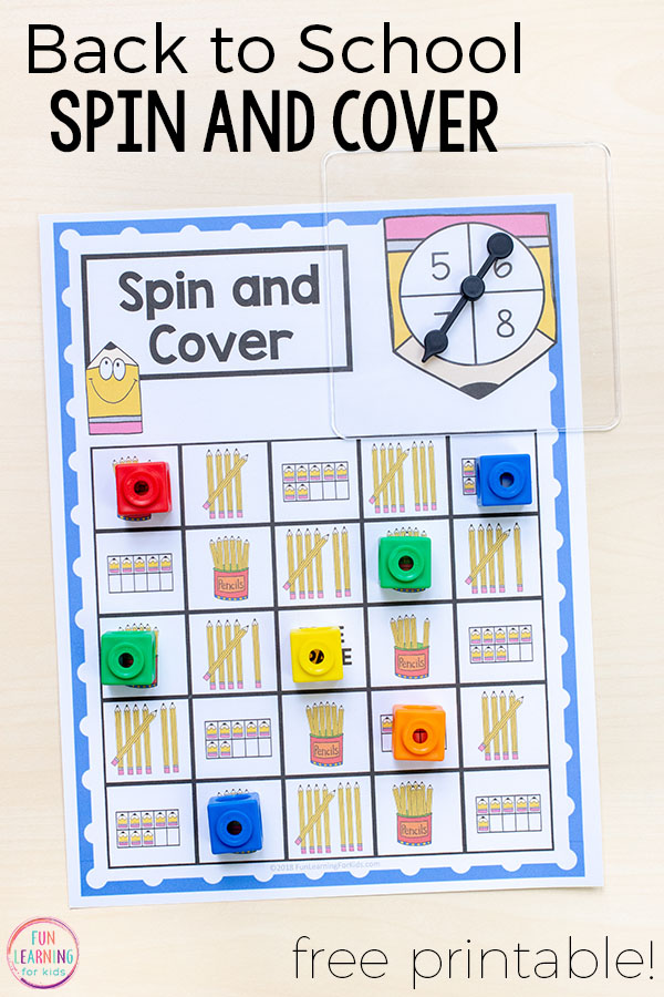 A fun back to school spin and cover math game. This no prep math activity is perfect for math centers.