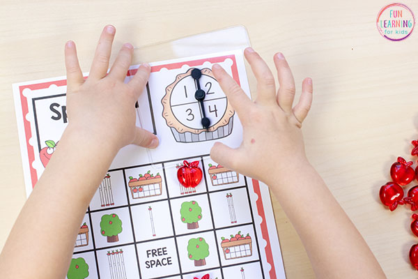 A fun fall math game for math centers in preschool and kindergarten.