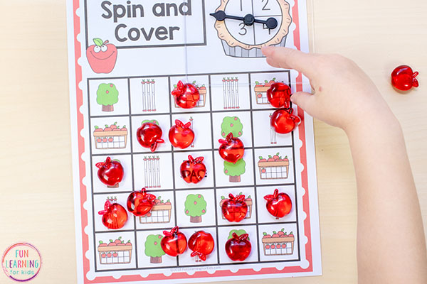 Apple math activity for kindergarten, pre-k and preschool.