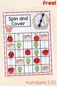 This apple spin and cover game is a fun fall math game to add to your math centers!