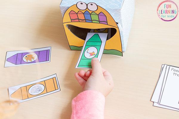 Feed me the beginning sound alphabet activity for preschool, pre-k and kindergarten.