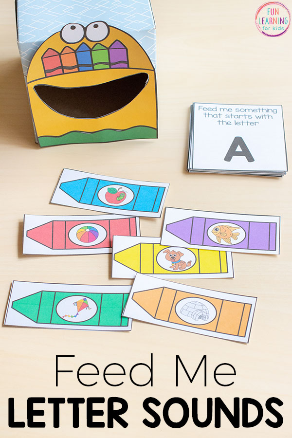 Feed me beginning sounds crayon box activity. A fun way for kids to learn letter sounds. This is perfect for your back to school literacy centers!