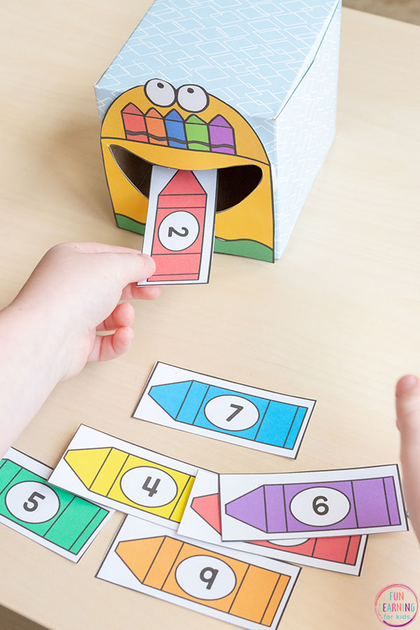 This feed me numbers activity is a fun way for kids in kindergarten, preschool and pre-k to learn numbers and counting.