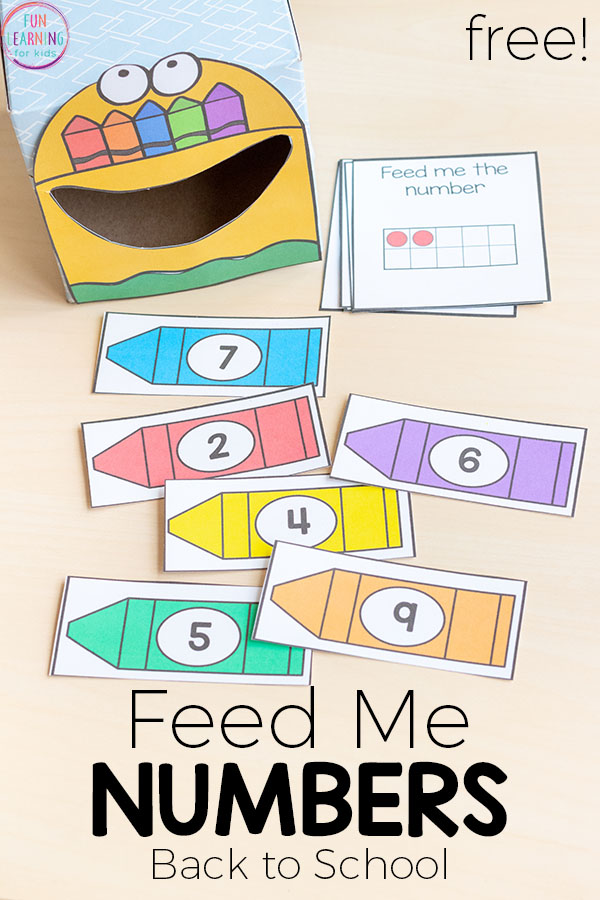 Feed me numbers crayon activity for back to school. A fun way to learn numbers in pre-k or kindergarten.This is perfect for your math centers!
