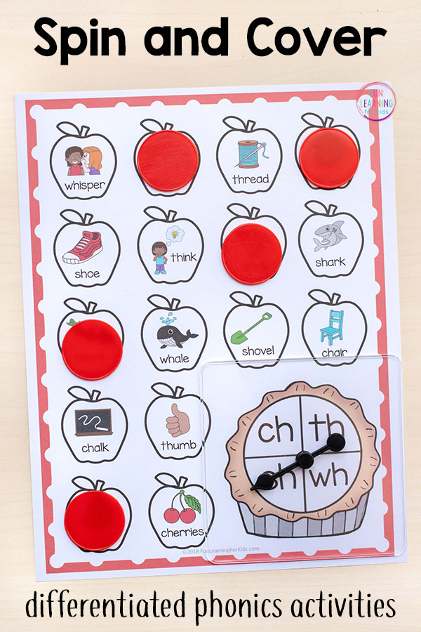 Apple spin and cover literacy centers for fall.
