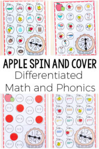 These differentiated apple spin and cover games are perfect for math and literacy centers this fall.