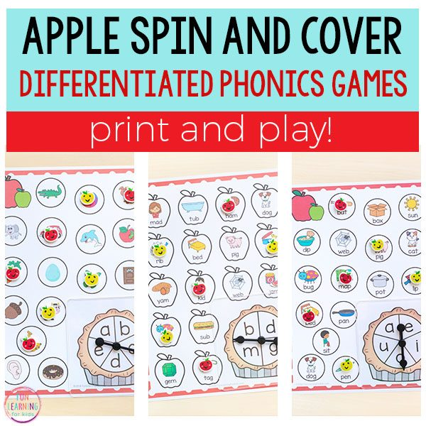 Differentiated apple spin and cover phonics activities.