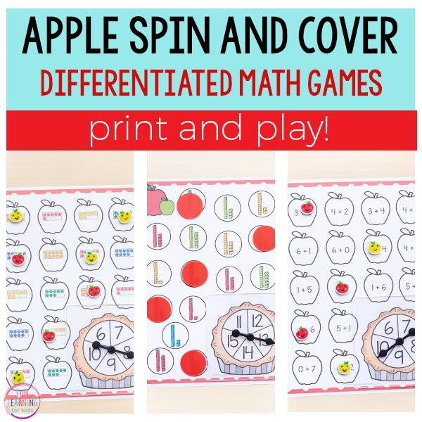 Differentiated apple spin and cover math activities.