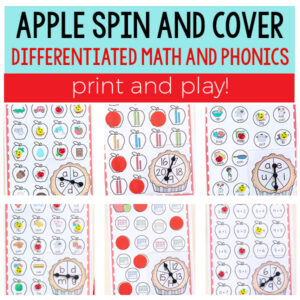 Differentiated apple spin and cover math and phonics games for kindergarten and first grade.