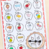 Apple spin and cover middle vowel sounds CVC activity for kindergarten and first grade.