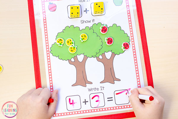 Apple theme preschool and kindergarten math activity for fall.