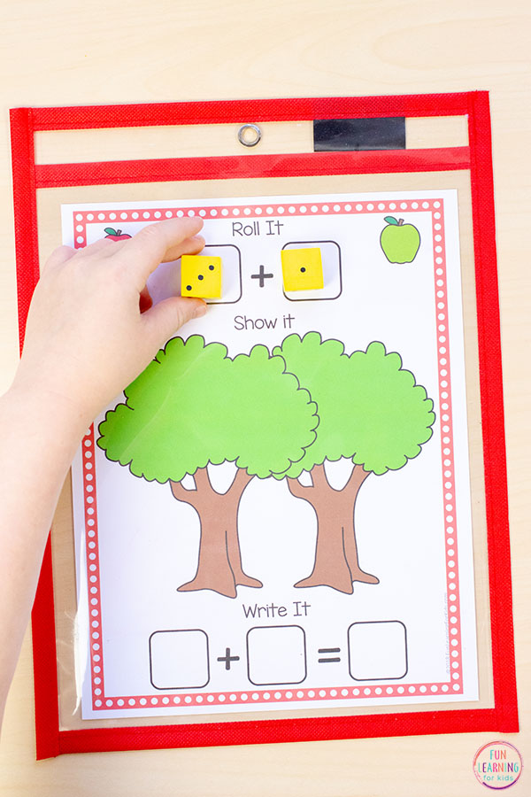 A fun apple themed addition activity for fall math centers.
