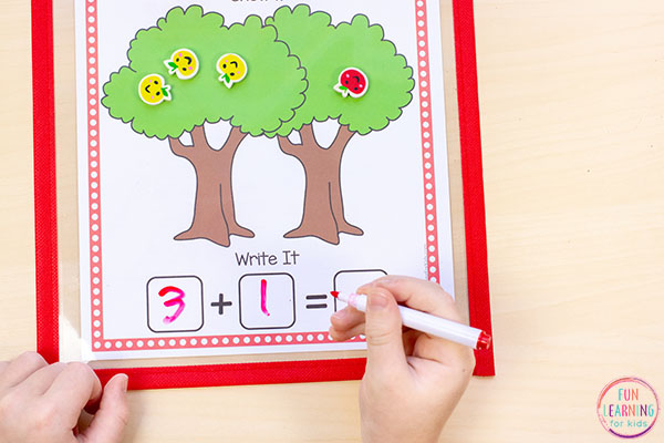Fall addition and subtraction activity for kindergarten.