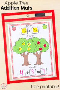 Your kids will love these apple tree addition and subtraction mats. They are perfect for fall math centers in kindergarten and even preschool.