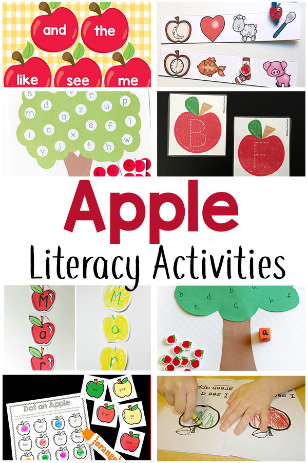 These apple literacy activities teach the alphabet, names, sight words and more!