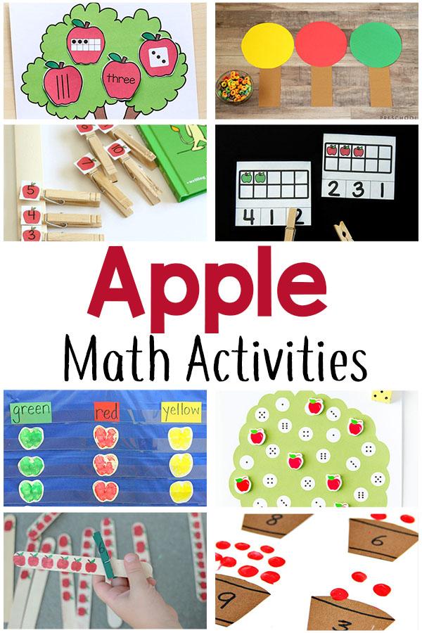Fun apple theme math activities for preschoolers and kindergarten students.
