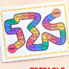 An editable board game for letters, sight words, spelling words, math facts and more!