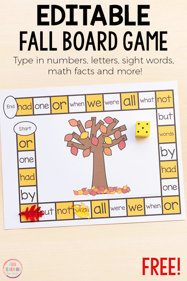 Free editable fall theme board game for learning literacy and math skills.
