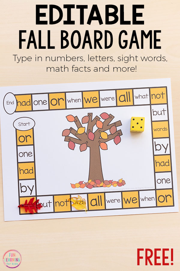 An editable board game for fall activities in preschool, kindergarten, first grade, second grade and higher!