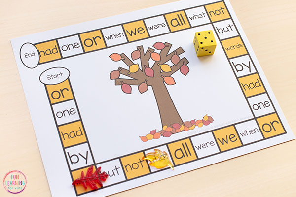 An editable fall board game that is fun and engaging!