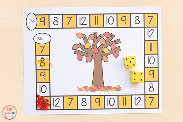 A fall themed board game for preschool and kindergarten.