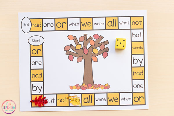 Learn sight words with an engaging fall board game that you can edit and add any words too.