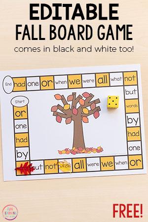 Editable Fall Board Game