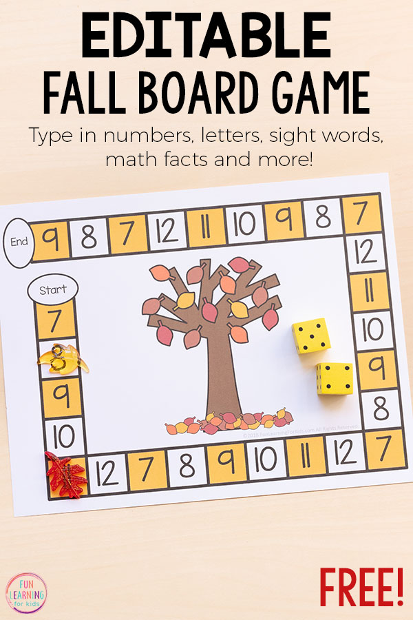 A fun editable fall board game that you can add to your math and literacy centers this fall.