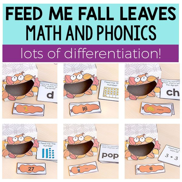 This feed me fall leaves activity is packed with differentiated math and literacy activities that your kids will love!