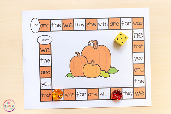 Pumpkin editable sight word game for students in kindergarten, first grade, and second grade.
